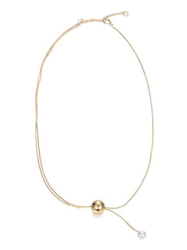 Brass Round ball long adjustable glass bead Minimalist Lariat Necklace
