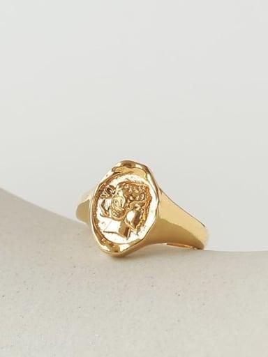 Brass Geometric Portrait Vintage Band Ring