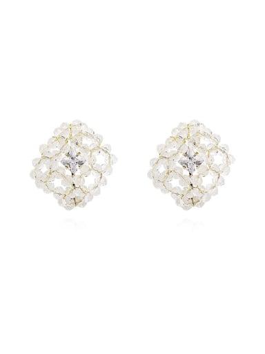 Copper Crystal Geometric Dainty Stud Earring