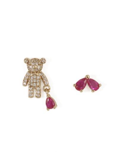 Alloy Rhinestone Bear Cute Stud Earring