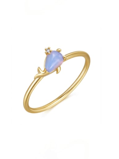 Little Dolphin Brass Cubic Zirconia Multi Color Irregular Cute Band Ring
