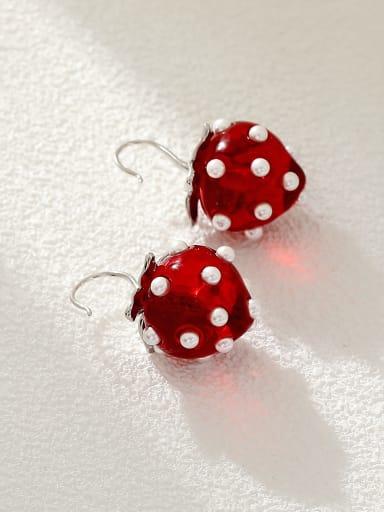 White K +red Brass Resin Friut Cute Hook Earring
