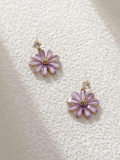 14k Gold +Purple Brass Resin Flower Minimalist Stud Earring