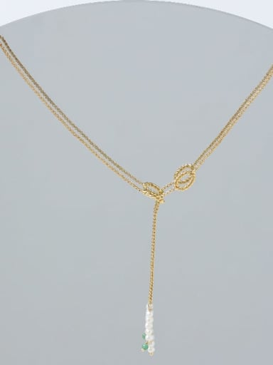 Brass Imitation Pearl Geometric Minimalist Lariat Necklace
