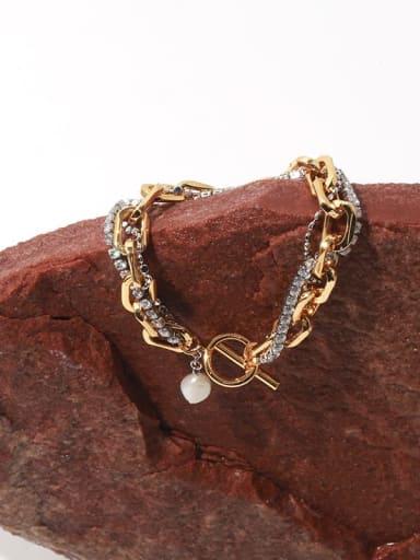 Brass Cubic Zirconia Geometric Chain Vintage Strand Bracelet