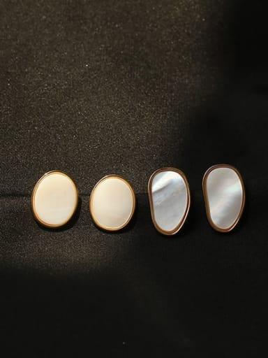 Brass Shell Geometric Minimalist Stud Earring