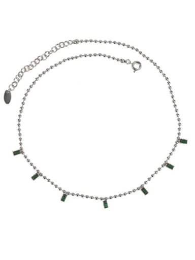 Platinum Brass Cubic Zirconia Geometric Dainty Necklace