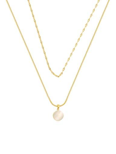 Brass Cats Eye Geometric Minimalist Multi Strand Necklace