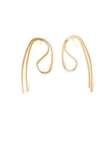 Brass Geometric Vintage Curved lines Drop Earring