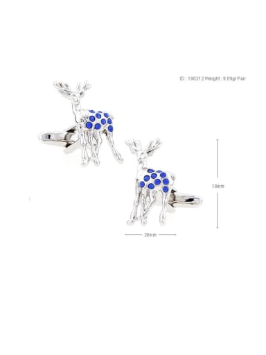 deer Brass Rhinestone Animal Vintage Cuff Link