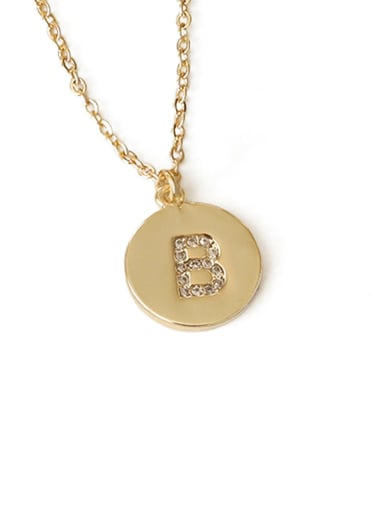 B Brass Message Vintage round pendant Necklace