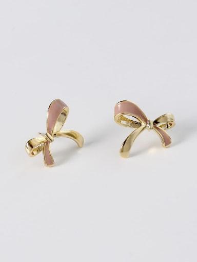 Brass Enamel Bowknot Minimalist Stud Earring