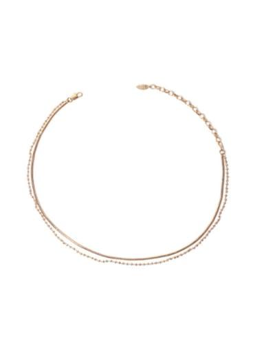golden Brass Bead Geometric Hip Hop Multi Strand Necklace