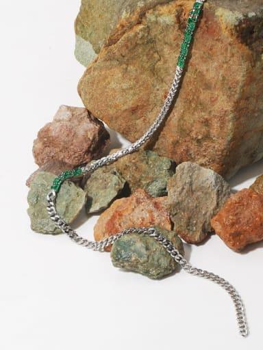 Brass Cubic Zirconia Geometric Minimalist Necklace