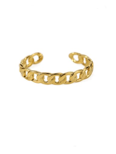 Coarse chain Brass Hollow geometry Vintage Cuff Bangle