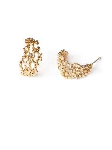 Brass Hollow Geometric Ethnic Stud Earring