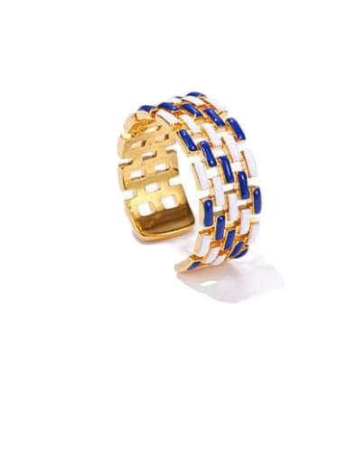 White and blue Brass Enamel Geometric Vintage Band Ring