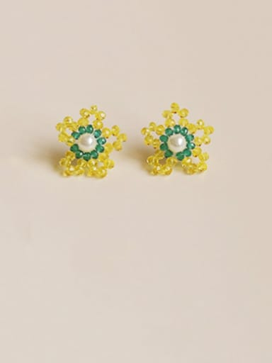 Yellow blue Alloy Bead Enamel Flower Cute Stud Earring