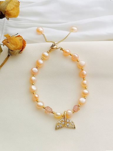 Copper Imitation Pearl Geometric Dainty Beaded Bracelet