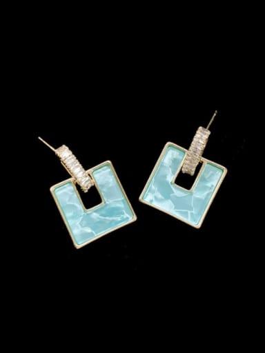 blue Brass Shell Geometric Minimalist Drop Earring