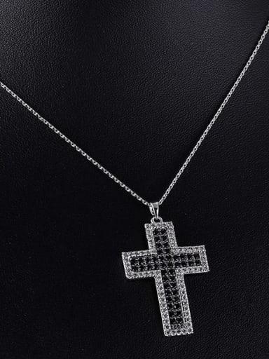 black Brass Cubic Zirconia Cross Minimalist Regligious Necklace