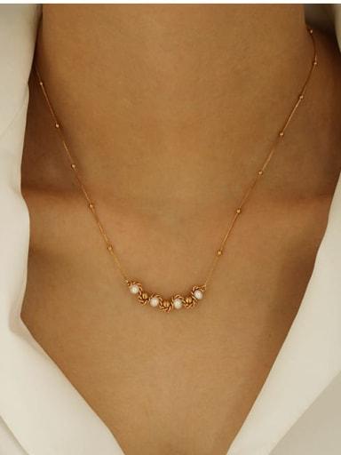 Brass Bead Geometric Minimalist Necklace