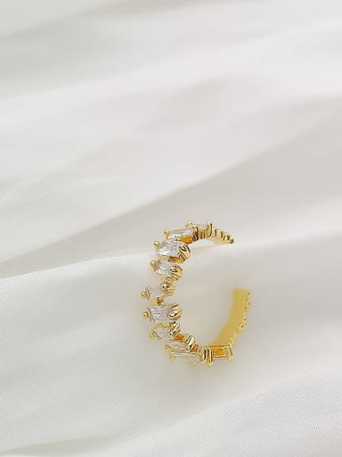 Copper Irregular Cubic Zirconia Dainty Band Fashion Ring