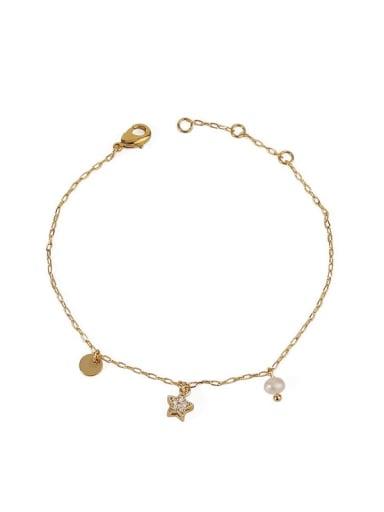 Five pointed star zircon Brass Cubic Zirconia Star Vintage Link Bracelet