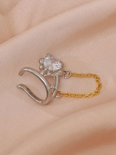 Brass Cubic Zirconia Tassel Trend Clip Earring
