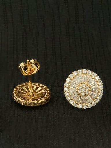Small diameter 1.3cm Brass Cubic Zirconia Round Luxury Stud Earring