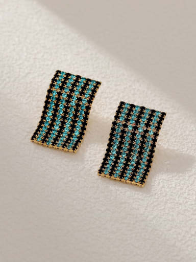 14k Gold Brass Cubic Zirconia Geometric Statement Cluster Earring