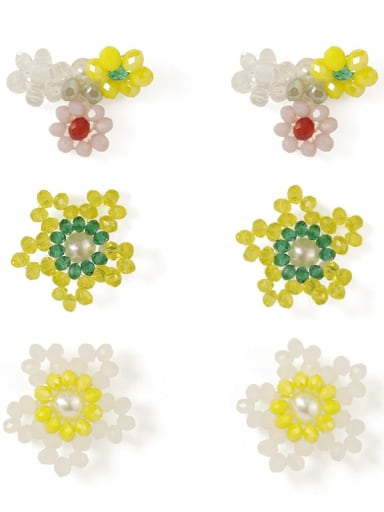 Alloy Bead Enamel Flower Cute Stud Earring