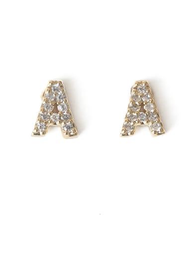 A Brass Cubic Zirconia Letter Minimalist Stud Earring