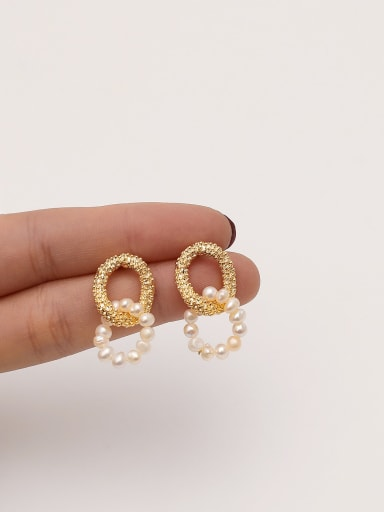 Brass Cubic Zirconia Geometric Ethnic Drop Earring