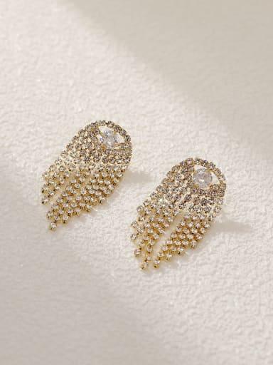 Brass Cubic Zirconia Tassel Vintage Drop Earring