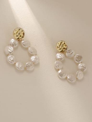 Brass Freshwater Pearl Geometric Vintage Drop Trend Korean Fashion Earring