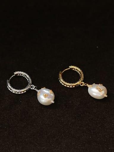 Brass Freshwater Pearl Geometric Vintage Huggie Earring