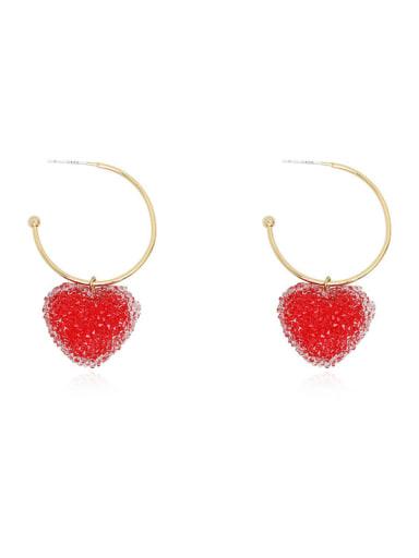 Copper Imitation Crystal Heart Minimalist Hook Earring