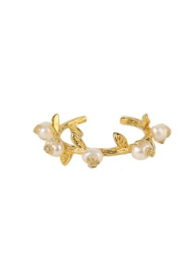 Brass Imitation Pearl Tree Vintage Band Ring