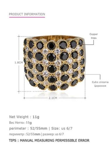 Gold Black US7 55mm Brass Rhinestone Geometric Vintage Statement Ring