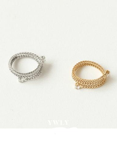 Brass Cubic Zirconia Geometric Minimalist Midi Ring