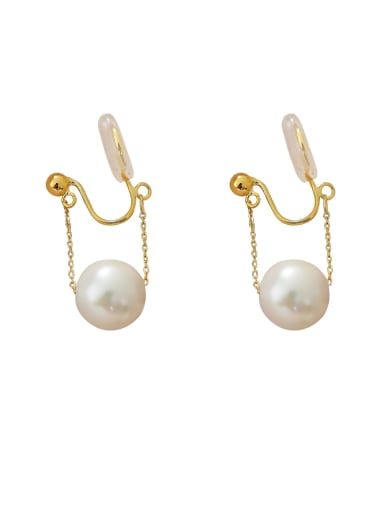 Brass Imitation Pearl Irregular Minimalist Clip Earring