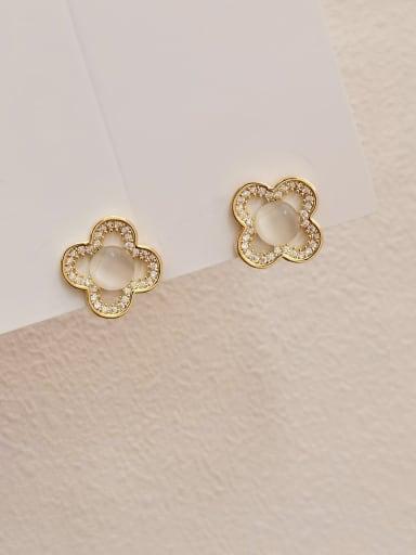 Brass Cats Eye Clover Minimalist Stud Earring
