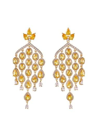 Brass Cubic Zirconia Tassel Luxury Cluster Earring
