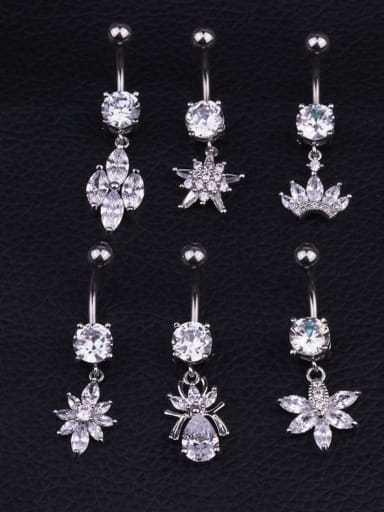 Titanium Steel Cubic Zirconia Flower Hip Hop Belly Rings & Belly Bars