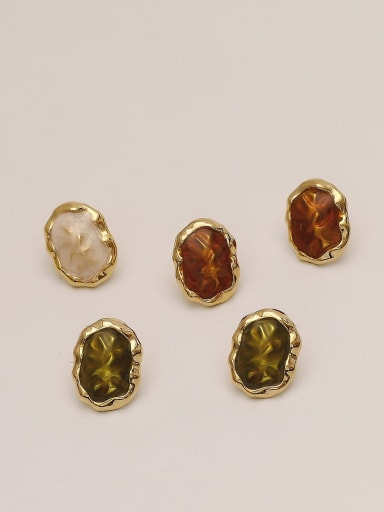 Brass Glass Stone Geometric Ethnic Stud Earring