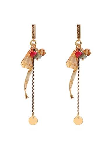 Copper Crystal Tassel Ethnic Threader Earring
