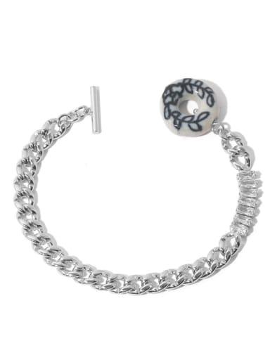 Platinum Brass Cubic Zirconia Hollow Geometric  Chain Vintage Link Bracelet