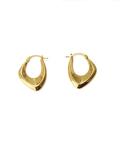 Brass Smooth Geometric Vintage Huggie Earring