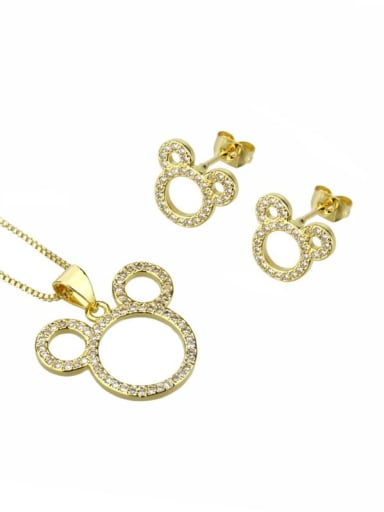 Brass Cubic Zirconia Minimalist Mouse  Earring and Necklace Set